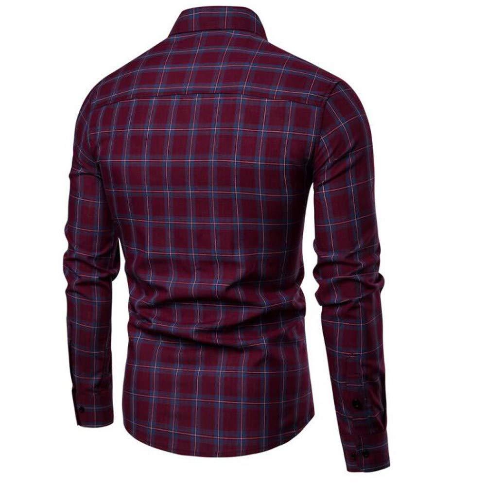 Balakie Mens Plaid Button Down Shirt Casual Wear Long Sleeve Blouse