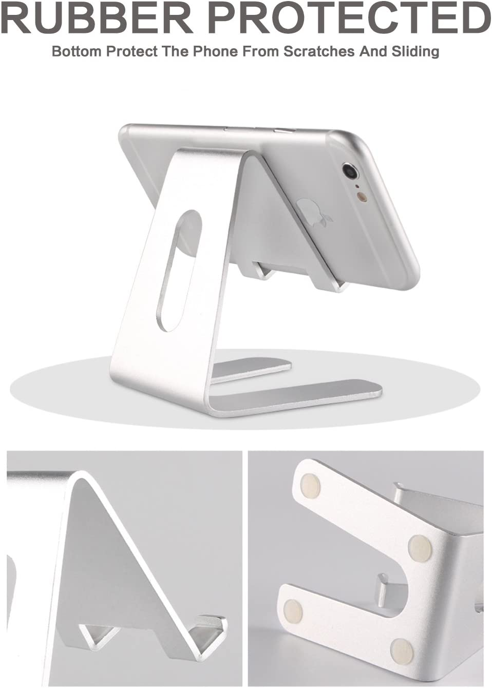 S9// S8 // Note8 Silver Facetime /& Live Stream Switch /& Kindle Cell Phone Stand,NTALL Tablet Stand,Universal Aluminum Holder,Cradle,Dock Stand for All Smartphone,iPad,iPhone X// 8 Plus