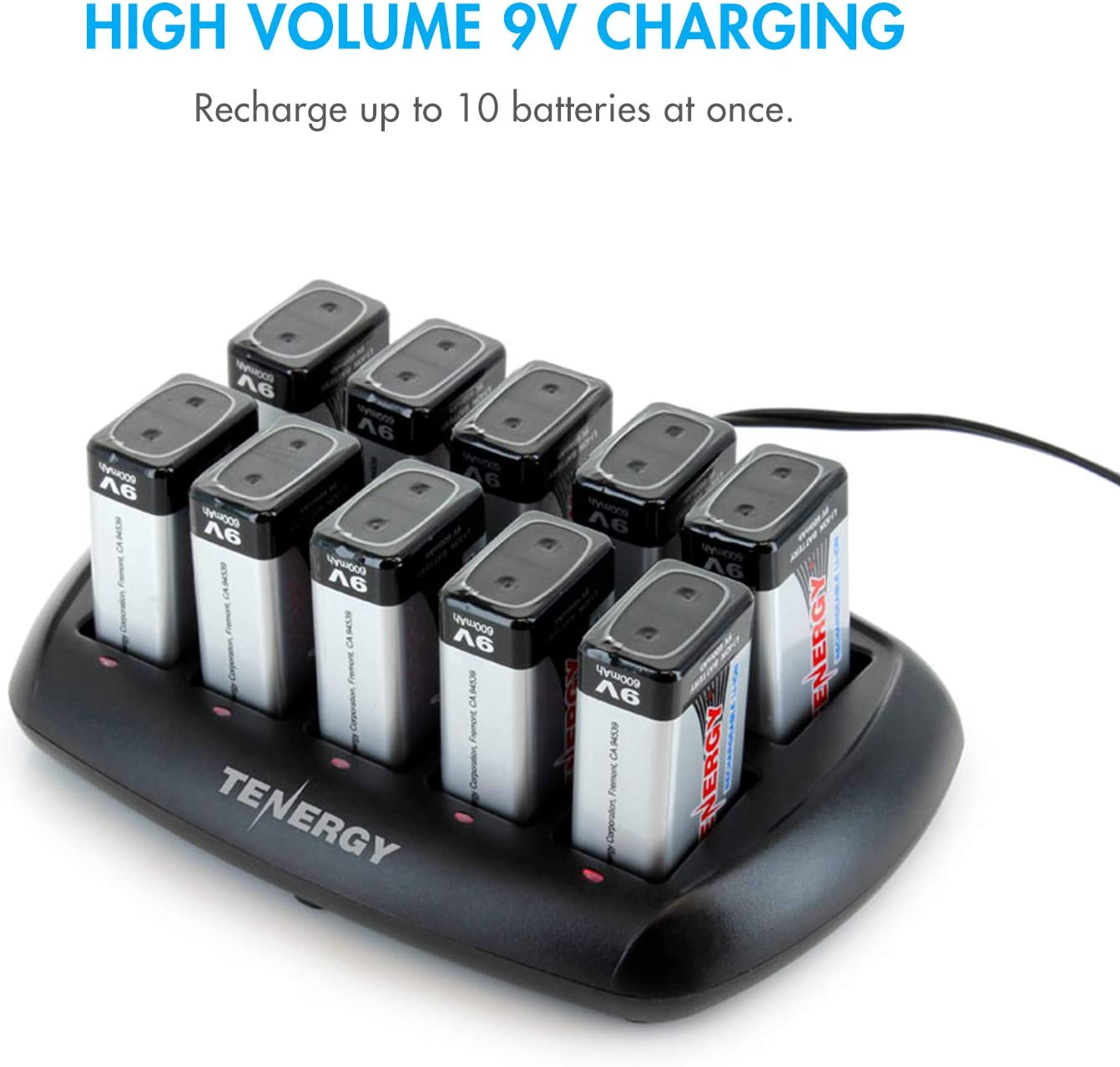 Tenergy TN295 10-Bay Smart 9V Battery Charger for Li-ion Rechargeable Battery