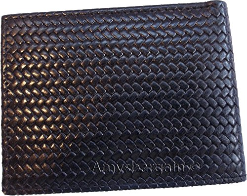 Style 2 6 Printed ID man's Leather fold bi Woven wallet billfolds 1 card Italian d8OqUd