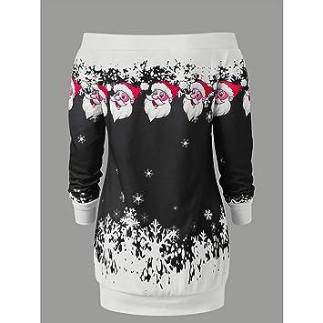 Zehui Vestido de Mujer de Navidad, Vestido sin Hombro Corto de Moda, Vestido de Moda de Manga Larga Casual Santa 2018 últimos moldes XL Negro: Amazon.es: ...