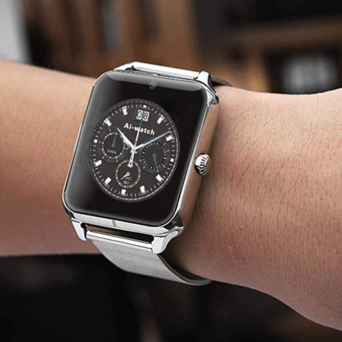 Z60 1.54 Pulgadas Pantalla Reloj Inteligente Bluetooth con cámara Soporte Tarjeta SIM TF Reloj Banda de Acero para iOS para Android: Amazon.es: Electrónica