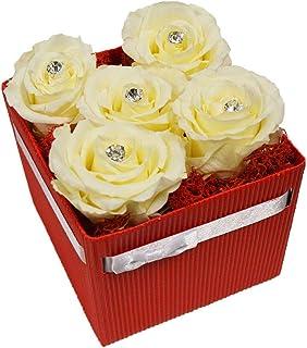 Centro Fiori Padova Scatola Rossa 5 Rose Bianche + 5 Spille
