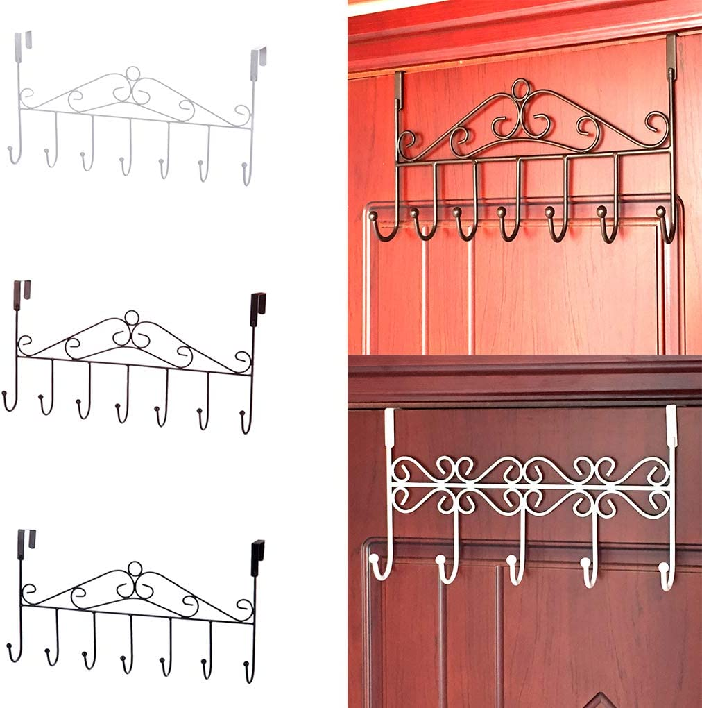 royalr Over Door Hanger with 7 Storage Rack Hooks Metal Towel Hat Coat Hooks Hanging Storage Rack Overdoor Organizer Bronze