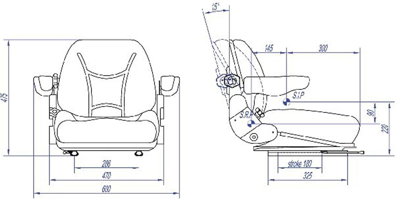 Sedile Cintura con Arrotolatore per Carrello Elevatore Muletto Escavatore Trattore Cingolato In PVC con Schienale Regolabile Gopart TS29000GP