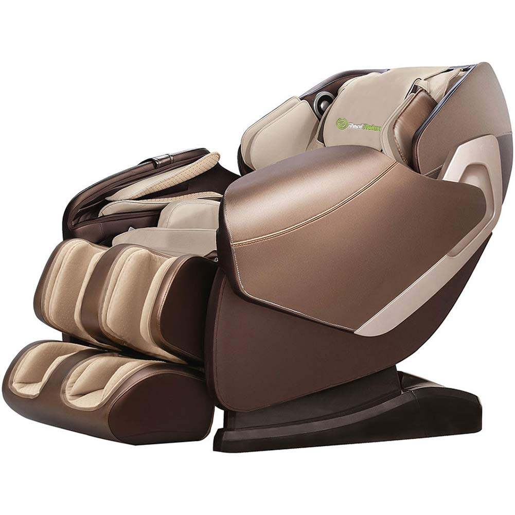 Real Relax 2019 Premium 3D Robots Hands Rollers from Neck to Thighs Massage Chair Recliner with Yoga Stretch, Champagne