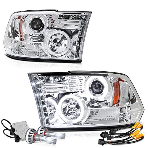 Vipmotoz Ccfl Halo Ring Chrome Projector Headlight Lamp Assembly For 2009 2018 Dodge Ram 1500 2500 3500 Pickup Truck Built In Csp Led Low Beam Driver Passenger Side