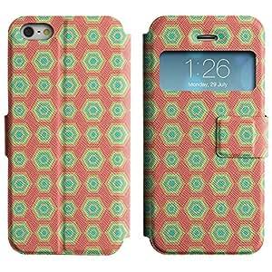 Be-Star Diseño Impreso Colorido Slim Casa Carcasa Funda Case PU Cuero - Stand Function para Apple iPhone 5 / 5S ( Hexagon Pattern )