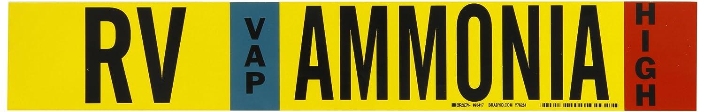 Brady 90417 Ammonia 2 1//4 Height X 14 Width B-946 Sky Blue Legend Ammonia 2 1//4 Height X 14 Width Legend Ammonia White Pipe Markers Iiar Red On Yellow Pressure Sensitive Vinyl Black