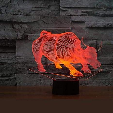 Lámpara De Ilusión 3D Lámpara De Mesa De Acrílico Toro Usb Led ...