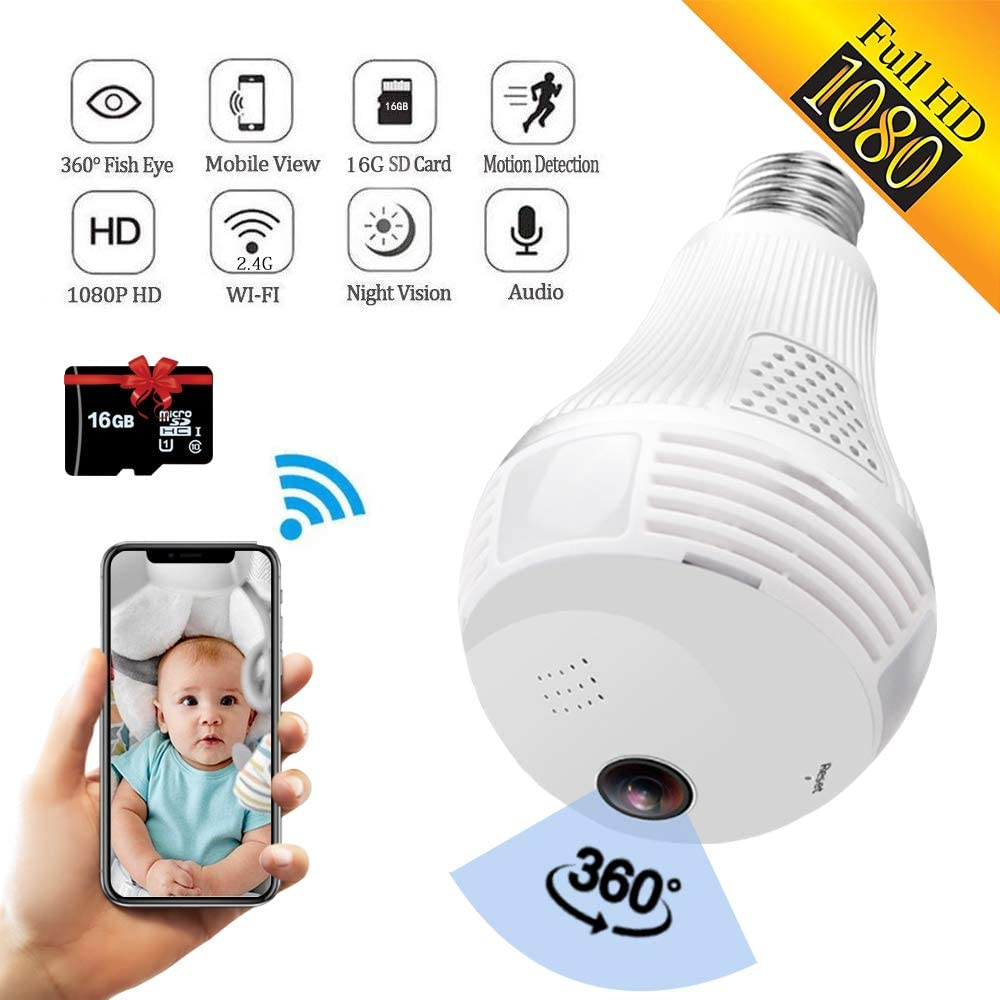 960P Panoramic Wireless IP Camera Lamps 360 Degree Motion Detection Alert Bulbs