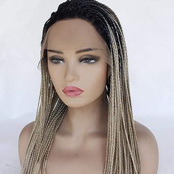 Cabello trenzas peluca larga marrón 28 pulgadas densidad pelucas ...