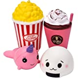 Antner 4 Pcs Squishy Toys Cute Jumbo Unicorn Popcorn Ice Cream Bun Slow Rising Sweet Scented Vent Charms Soft Squishies