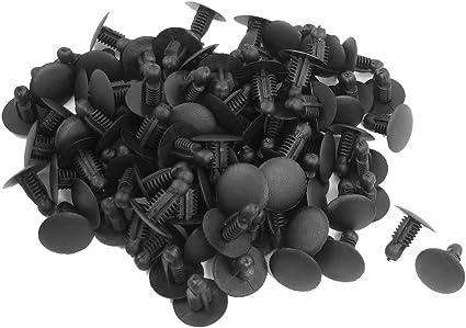 Sodial R 100 Stueck Auto Plastik Schieben Fastener Nieten Clips Schwarz Fuer 9mm X 7 3mm Loch Küche Haushalt