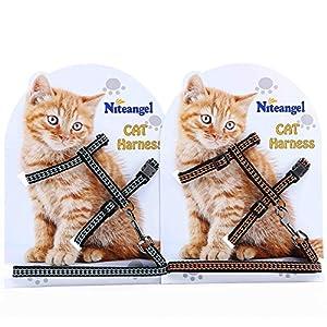 Niteangel 2-Pack of Adjustable Cat Harness & Leash (Reflective Blue & Orange)