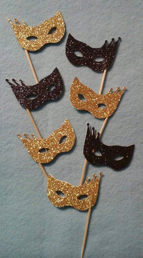 New Years Party Toothpicks Halloween Cupcake Toppers Glitter Masquerade Masks Cupcake Toppers 24 pcs