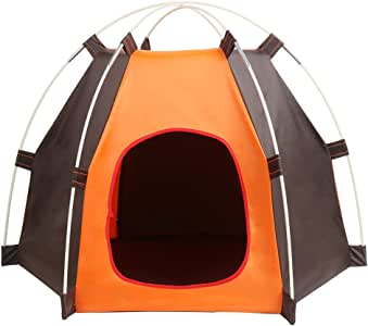 Portable Folding Dog Tent Cat House Bed, Outdoor Waterproof Animals Shelter Wigwam, Summer Beach Sunscreen Rabbit,Travel Camping pet Cage in Car, Door Entrance Size 20 * 24 cm