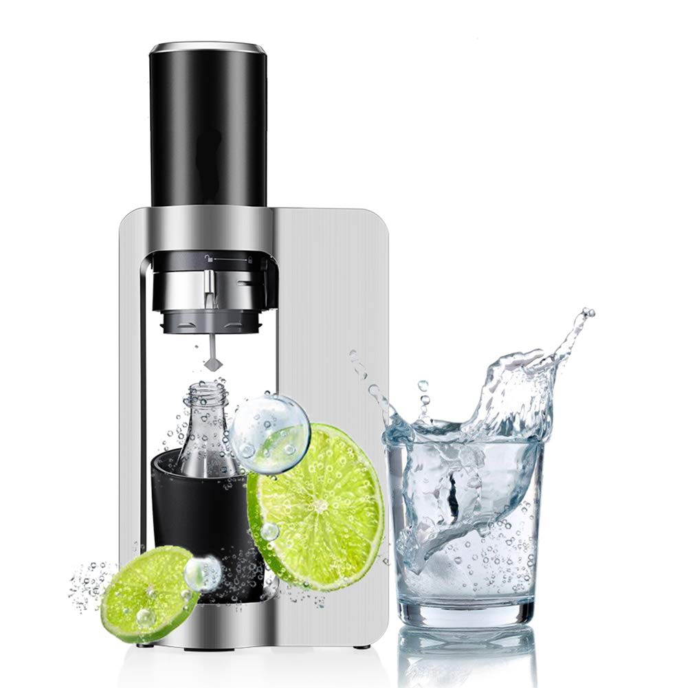 Sparkling Soda Water Maker, One-Click Production with 0.6L Bottle and CO2 Cylinder - Refillable, Reusable, Efficient - Sparkling Water Dispenser, Plastic, for Party, Hotel, Picnic, Silver