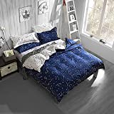 Hxiang Blue Color constellation 3PC Duvet Cover Sets,Space Style Kids Bedding Sets 1 Duvet Cover+2 Pillowcases (Full)