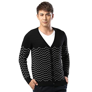 Classical Mens Wave Pattern Knitted Cardigan Sweater At Amazon