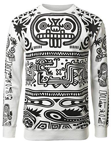 URBANCREWS Mens Hipster Hip Hop Lost City Pullover Sweatshirt WHITE XLARGE