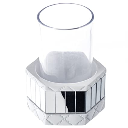 quilted mirror bathroom tumbler holder with glass 35 x 3 x 44 - Bathroom Tumbler