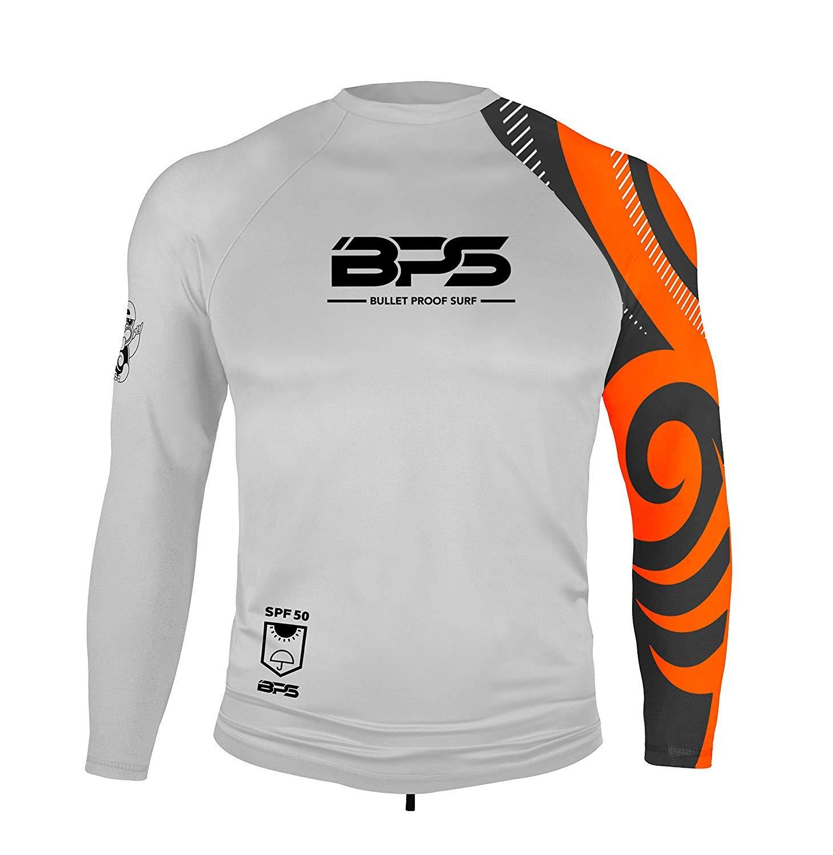 BPS Men's Long-Sleeve Quick Dry Rash Guard UPF 50+ - White Orange, M by BPS