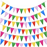 JZK® 262 feet = 80 meters, Colourful party bunting triangle flag banner string pennant flags hanging decoration for wedding birthday celebration baby shower party supply Christmas Halloween garden school accessories decorations ornaments