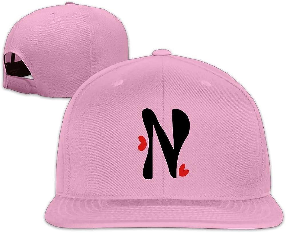 VKLFN Custom Unisex Snapback Adjustable Truck Cap Sports Travel Hat Natural Letter N /& Red Hearts Baseball Flat Hat