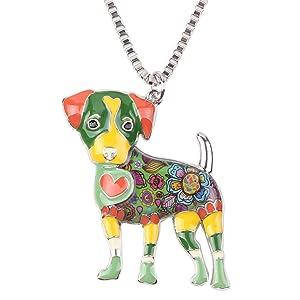 Bonsny Love Heart Enamel Zinc Alloy Metal Jack Russell Necklace Dog PETS Animal pendant Unique Design 18