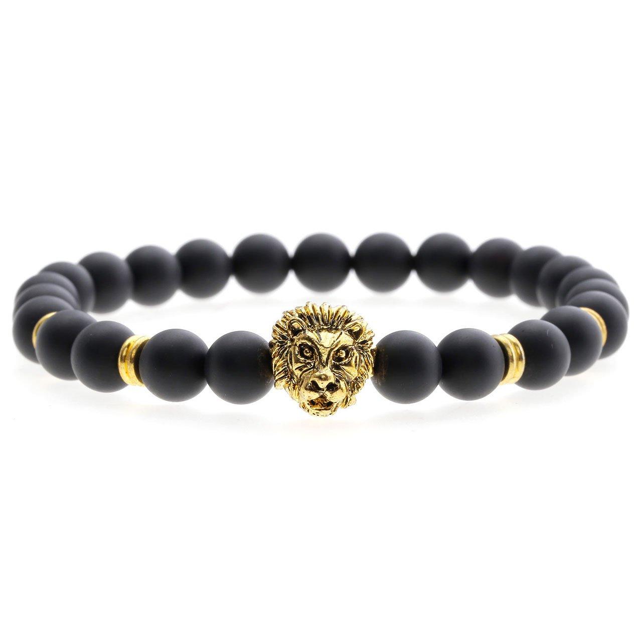 Jovivi 8mm-Pierres Perles d\'Energie Agate Noire Matte Perles Bracelet Extensible Elastique Tibétain Bouddhiste avec Tête de Lion Unisexe -