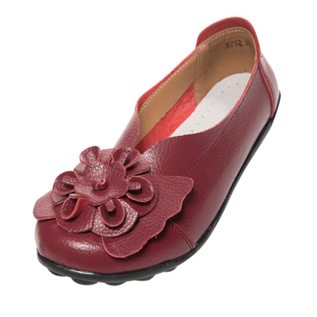 Guanti in pelle, Sandali resplend donne Flats caviglia casual Slipper pisello Scarpe Morbide scarpe 42 eu rosso vivo