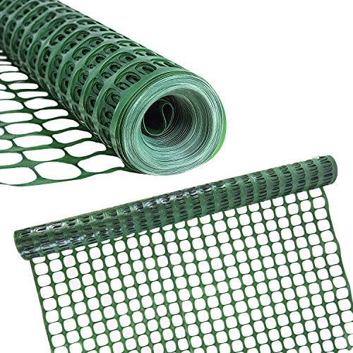 Houseables Temporary Fencing, Mesh Snow Fence, Plastic, Safety Garden Netting, Single, Green, 4 x 100' Feet, Above Ground Barrier, For Deer, Kids, Swimming Pool, Silt, Lawn, Rabbits, Poultry, Dogs -