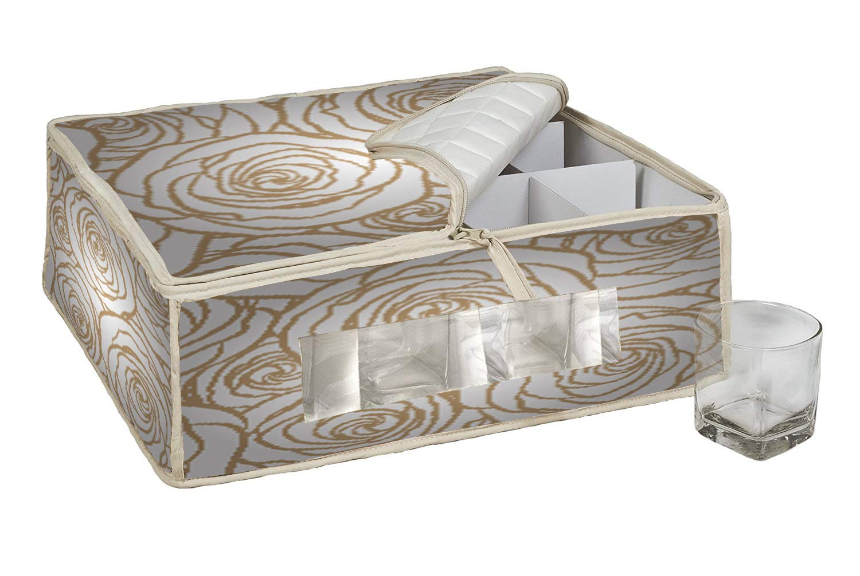 a prueba de polvo 40L X 35W X 15H CM Color 1 Caja de almacenamiento de vidrio con 12 compartimentos QEES GJB1037