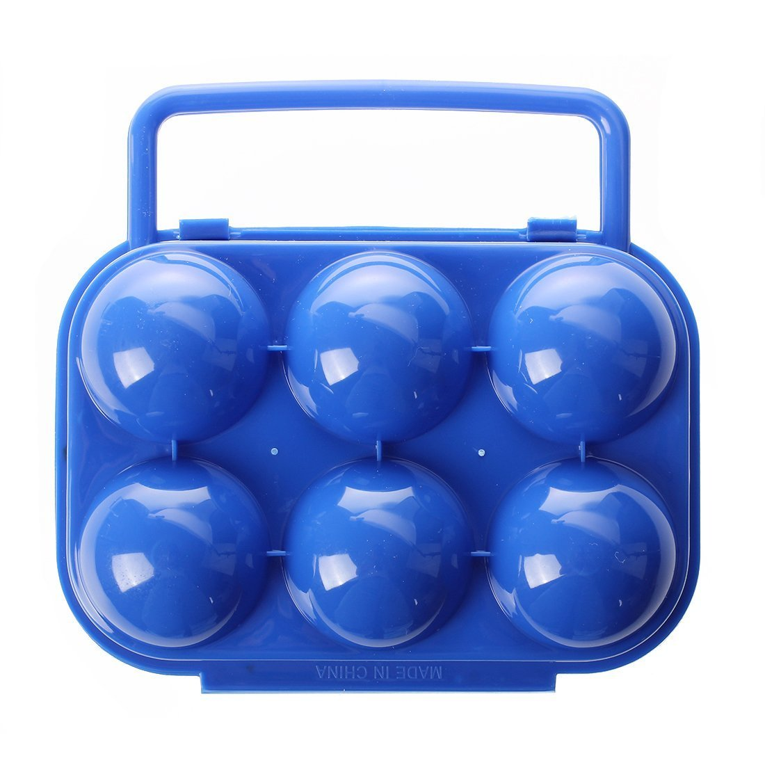 SODIAL(R) Portable Folding Plastic Egg Carrier Holder Storage Container for 6 Eggs - Blue AEQW-WER-AW146634