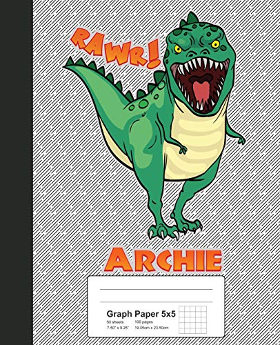 Graph Paper 5x5: ARCHIE Dinosaur Rawr T-Rex Notebook (Weezag Graph Paper 5x5 Notebook) Weezag