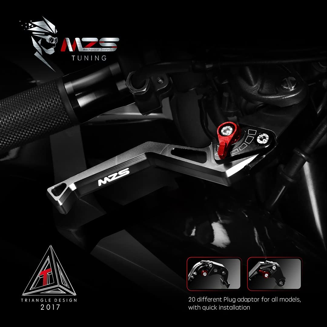 MZS Clutch Brake Levers Short Square Adjustment CNC Black Compatible with BMW G310R G310GS