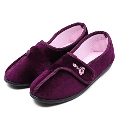 654db8351136 Image Unavailable. Image not available for. Color  MEJORMEN Women Diabetic  Slippers Walking Shoes Roomy Adjustable ...