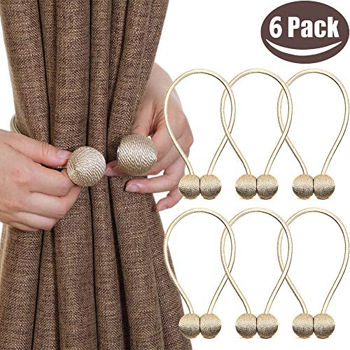 (Melaluxe 6 Pack Magnetic Curtain Tiebacks, Decorative Curtain Holdbacks for Window Décor (Beige))