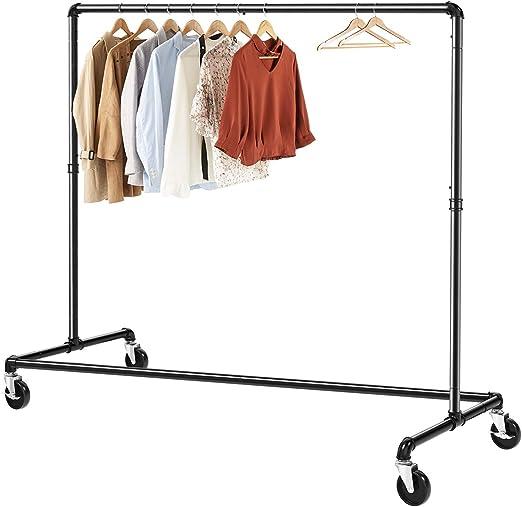 Metal Garment Rack,Commercial Grade Clothing Garment Rack,with Hanging Rod and 4-Tier Storage Shelf,for Garment,Hats,Scarves,Bag,Shoes JIAYING Coat Racks Industrial Coat Rack