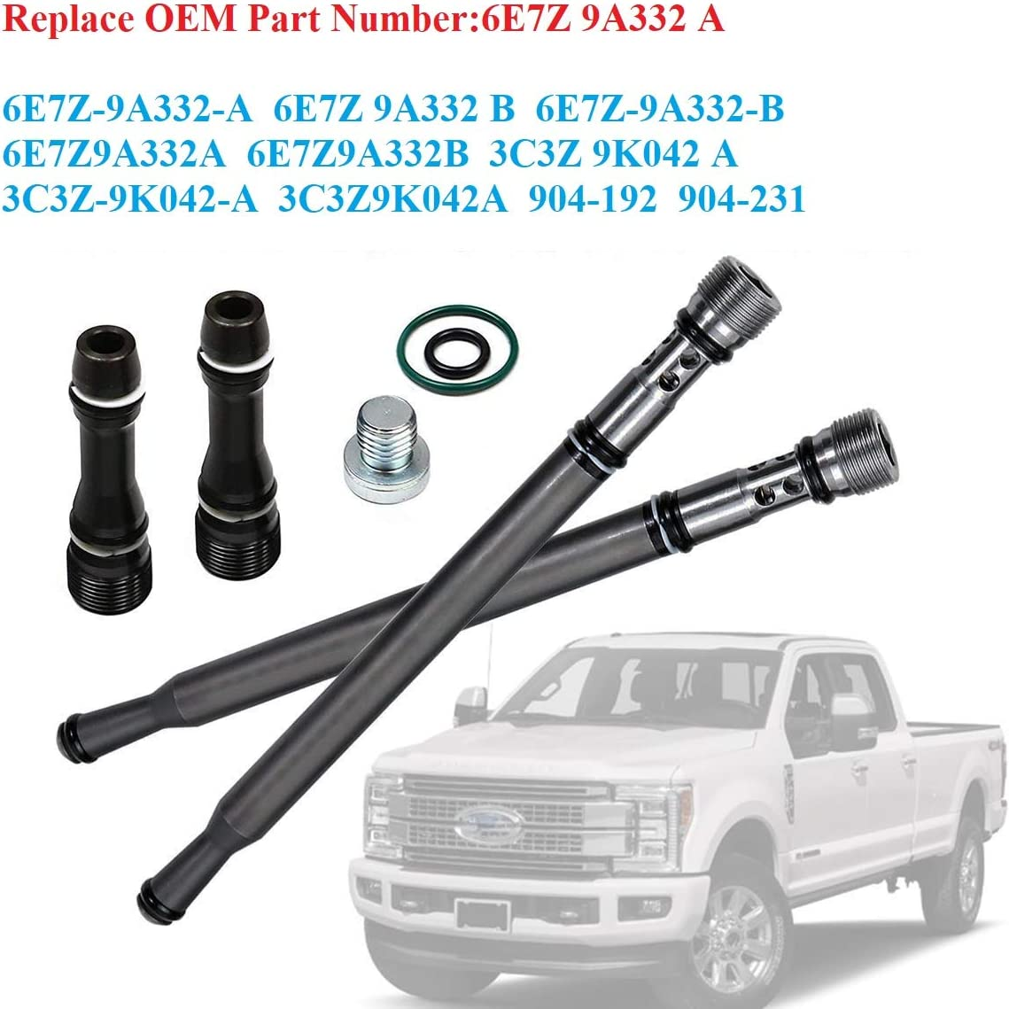 6E7Z9A332B for Genuine Ford 6E7Z-9A332-B Fuel Supply Tube,Stand Pipe /& Dummy Plug Kit Replacement for 2004-2010 Ford 6.0L Powerstroke E//F-Series Fuel Supply Tube by Lucky Seven