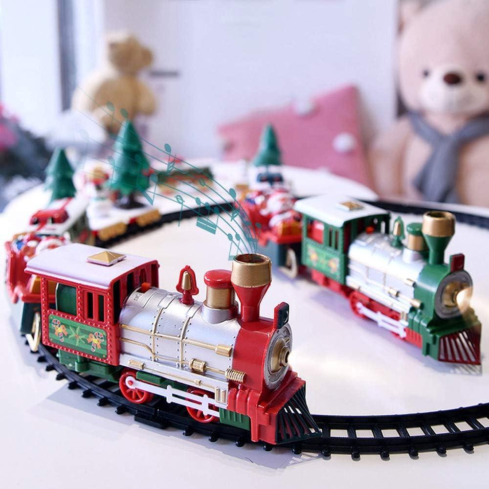 Juego de Trenes navideños clásicos, Tren de Juguete para niños con Luces y Sonidos, Incluye Coches y vías con Motor de Locomotora de muñeco de Nieve de árbol de Navidad, Regalo para niños y niñas