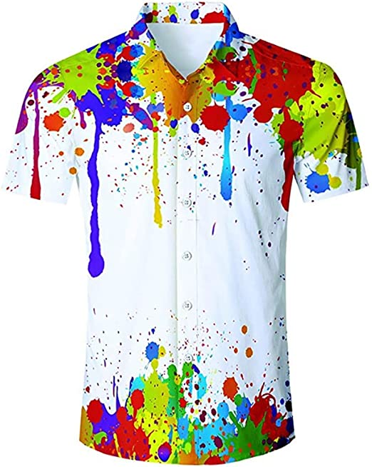 Men Short Sleeve Button Down T-shirt Tops Slim Fit Casual Dress Stylish Shirts