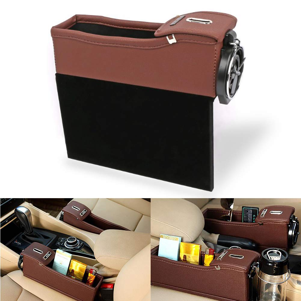Xiton 1PC Car Seat Organizer Car Seat Side Gap Filler Multi-fuctional PU Leather Storage Box with Coin Money Beverage and Cup Holder Driver Seat,Black Coffee