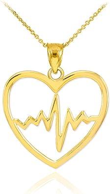 14k Yellow Gold Lifeline Pulse Heartbeat Charm Open Heart Pendant Necklace