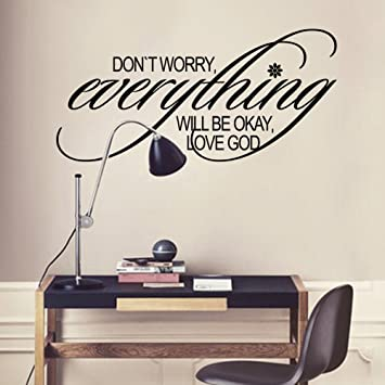 Amazoncom MairGwall Christian Quote Wall Decal Dont Worry