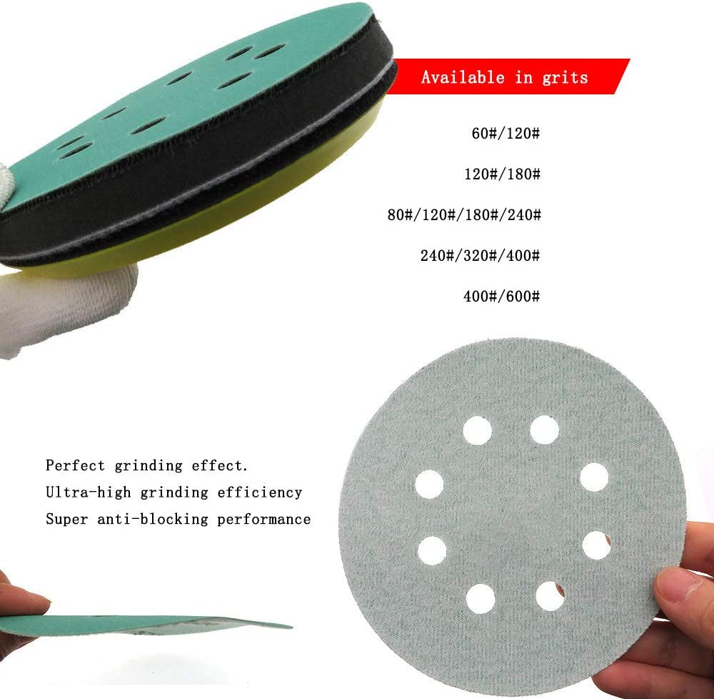 20Pcs 5 Inch 125mm 8 Holes Wet and Dry Sandpaper 60 to 2000 Grits Hook and Loop Green Film Sanding Disc PET Film Abrasive Tools,60 1000