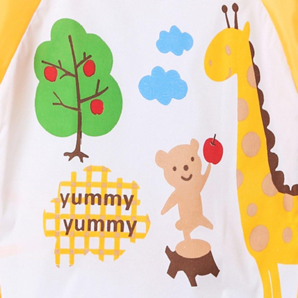 Chinatera Baby Bibs Children Cartoon Long Sleeve Self Feeding Care Waterproof Apron