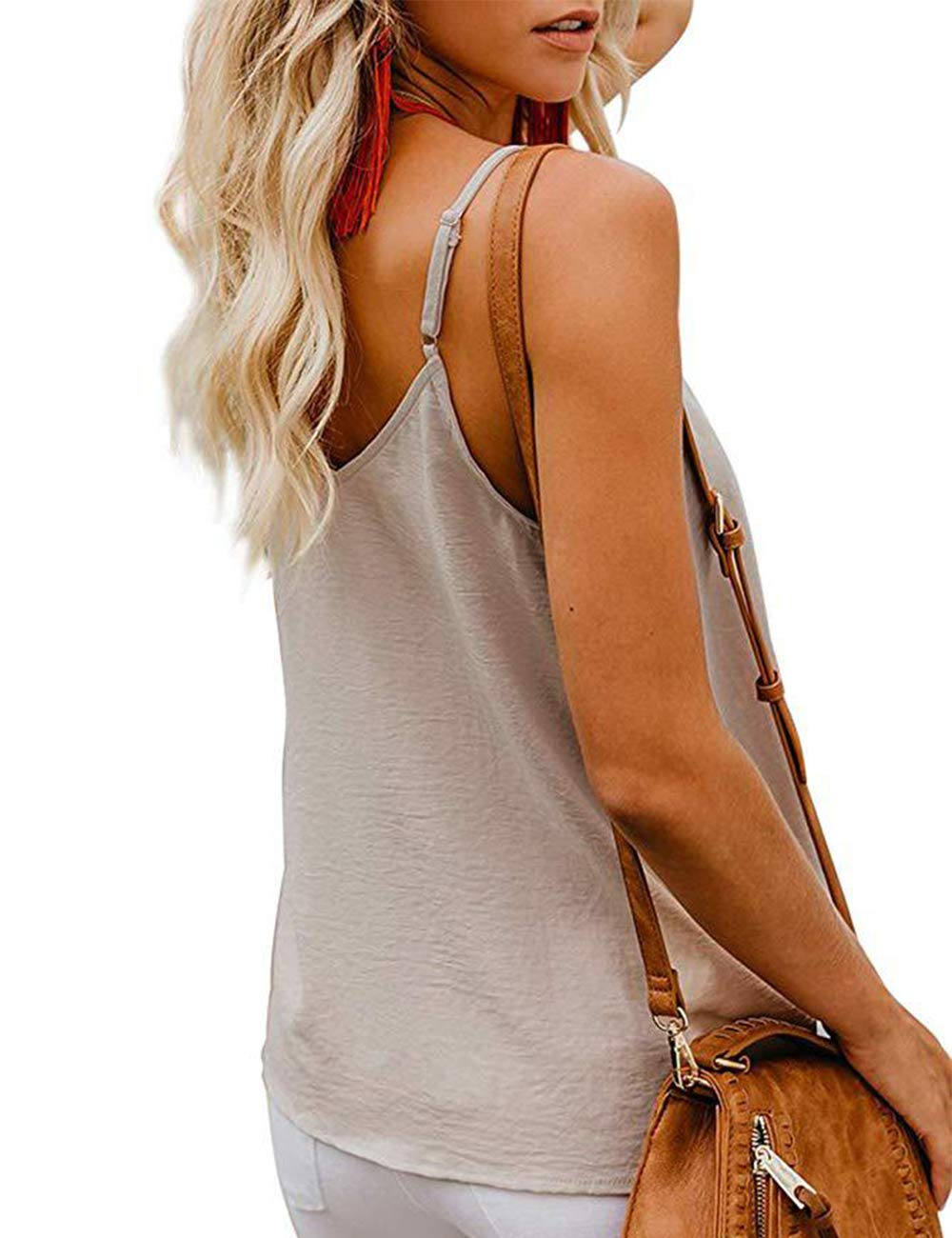 RSM&CHENG Women's Button Down V Neck Strappy Tank Tops Loose Casual Sleeveless Shirts Blouses(Apricot,L)