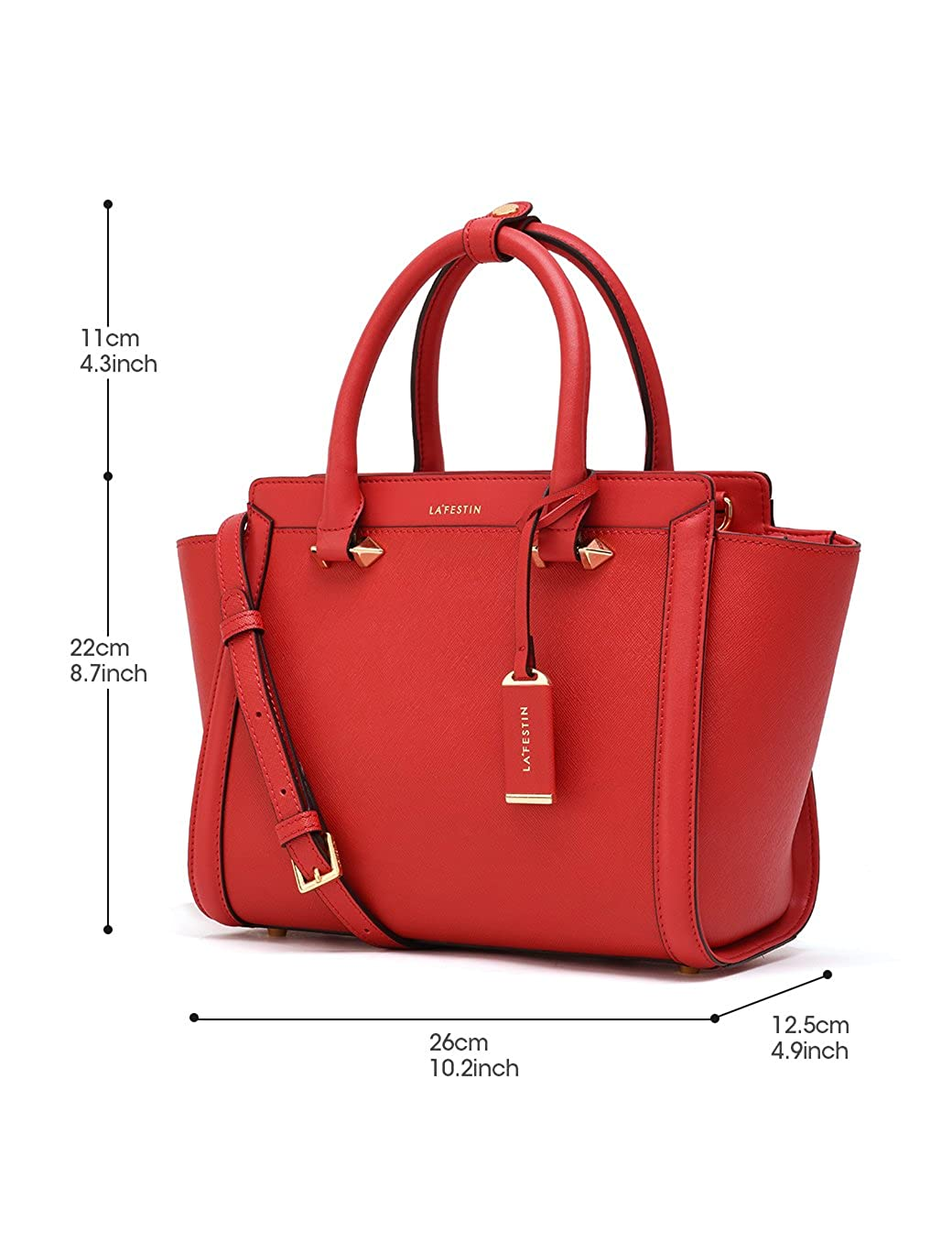 af7d5757e3ab LA FESTIN Bags for Women 2017 Fashion Big Purses Genuine Leather Top Handle  Handbags (Red)  Handbags  Amazon.com